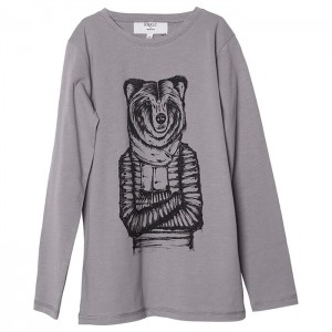 Knast by Krutter Wise Bear Tee longsleeve in Farbe Grau